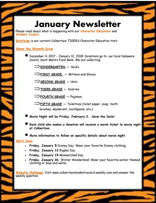 CULBERTSON STUDENT COUNCIL - Newsletter